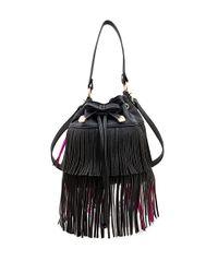 Betsey Johnson Black Fringed Faux Leather Bucket Bag