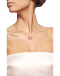 Gag & Lou | Pink Rhodonite Rose Necklace with Diamond Insert Yellow Gold Chain | Lyst