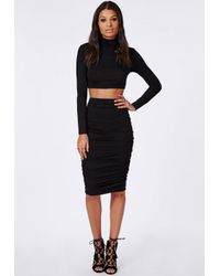 Missguided - Ruched Seam Midi Skirt Black - Lyst