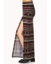 Forever 21 Black Southwestern Print Maxi Skirt