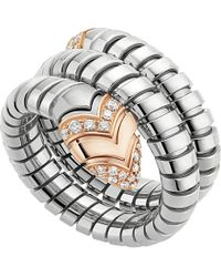 BVLGARI | Gray Serpenti Tubogas 18kt Pink-gold, Diamond And Stainless Steel Ring | Lyst