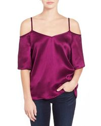 Ella Moss | Pink Silk Blend Cold Shoulder Top | Lyst
