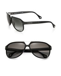 Ermenegildo Zegna Black Resin Aviator Sunglasses for men