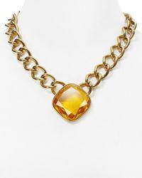 "Michael Kors - Metallic Stone Pendant Necklace, 18"" - Lyst"
