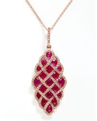 Effy | Red Ruby, Diamond And 14k Rose Gold Pendant Necklace | Lyst
