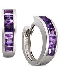Macy's Metallic Sterling Silver Earrings, Amethyst Hoop Earrings (1-1/2 Ct. T.w.)