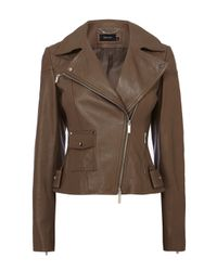 Karen Millen | Green Leather Biker Jacket | Lyst