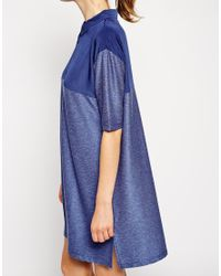 ASOS - Blue Shirt Dress With Woven Panel - Lyst