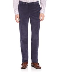 Isaia - Blue Flat-front Corduroy Pants for Men - Lyst