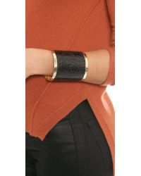 Adia Kibur - Metallic Embossed Cuff Bracelet Black - Lyst