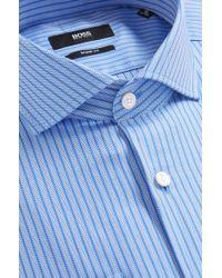 BOSS - Blue 'mark Us' | Sharp Fit, Cotton Herringbone Dress Shirt for Men - Lyst