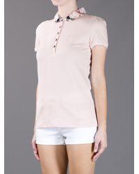 Burberry Pink Check Collar Polo Shirt