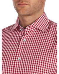 Tommy Hilfiger - Red Slim Fit Gingham Shirt for Men - Lyst