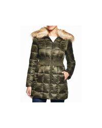 Laundry by Shelli Segal - Green Faux Fur Trim Puffer Coat - Lyst