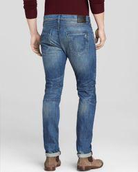 True Religion Blue Jeans - Distressed Rocco Moto Slim Fit In Rough Trail for men