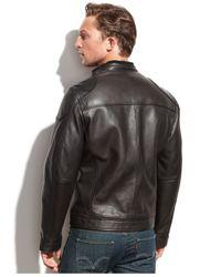 Calvin Klein Black Leather Moto Jacket for men