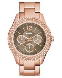 Fossil | Pink 'stella' Crystal Bezel Multifunction Bracelet Watch | Lyst
