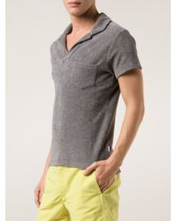 Orlebar Brown Gray Terry Towelling Polo Shirt for men