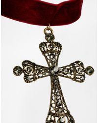 ASOS - Red Filigree Cross Choker Necklace - Lyst