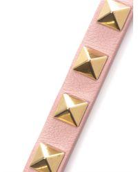 Valentino Pink Studded Leather Bracelet