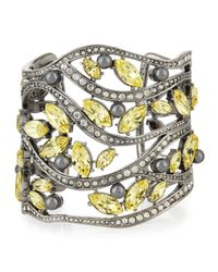 St. John - Gray Pearly And Multi Tonal Crystal Cuff Bracelet - Lyst