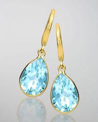 Kiki McDonough | 18k Gold Eternal Blue Topaz Teardrop Earrings | Lyst