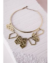 Missguided Metallic Double Layer Cut Out Detail Choker Gold