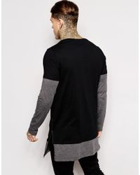 ASOS Black Super Longline Long Sleeve T-shirt With Double Layer And Side Zip for men