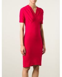 Carven Pleated Detail Fitted Dress In Red Lyst