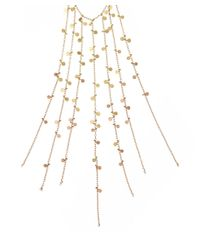 Sia Taylor - Metallic Yellow and Rose Gold Multichain Fringe Dot Necklace - Lyst