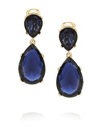 Kenneth Jay Lane | Blue Gold-tone Crystal Clip Earrings | Lyst