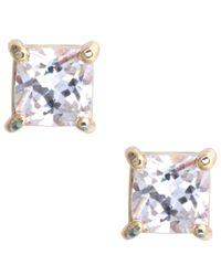 Nine West - Metallic Gold Cubic Zirconia Stud Earrings - Lyst