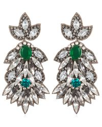Suzanna Dai | Green Borghese Large Drop Earrings, Emerald/crystal | Lyst