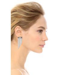 Iosselliani Metallic Fringe Earrings - Silver