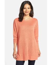 Eileen Fisher | Orange Organic Linen Knit Tunic | Lyst