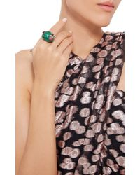 Wendy Yue Green Malachite Snake And Apple Ring