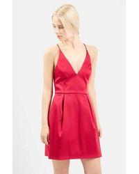 TOPSHOP Red V-neck Satin Minidress