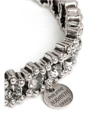 Philippe Audibert - Metallic Amelia Bead And Crystal Embellished Elasticated Bracelet - Lyst