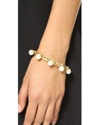 Joomi Lim - Metallic Dot And Dash Single Row Pearl Bracelet - Gold/Cream - Lyst