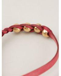 Alexander McQueen - Red Woven Skull Bracelet - Lyst
