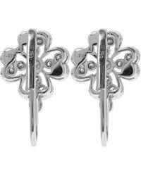 Kojis - Metallic White Gold Floral Diamond Drop Earrings - Lyst