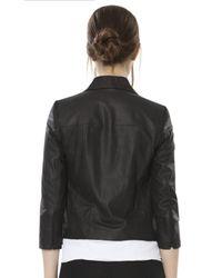 Alice + Olivia - Black Colton Drape Leather Jacket - Lyst
