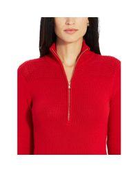 Ralph Lauren   Red Cotton Mockneck Sweater Dress   Lyst