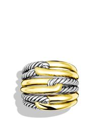 David Yurman - Metallic Labyrinth Triple-loop Ring With Gold - Lyst