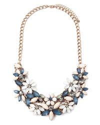 Forever 21 | Blue Faux Gem Flower Necklace | Lyst