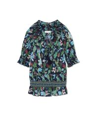 Tory Burch - Multicolor Smocked Cotton Peasant Top - Lyst