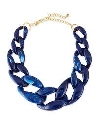 Kenneth Jay Lane | Marbled Enamel Link Necklace Lapis Blue | Lyst