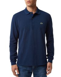 Lacoste | Blue Long Sleeved Ribbed Collar Polo for Men | Lyst
