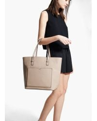 Mango Natural Saffiano-Effect Shopper Bag