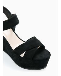 Mango Black Wedge Sandals